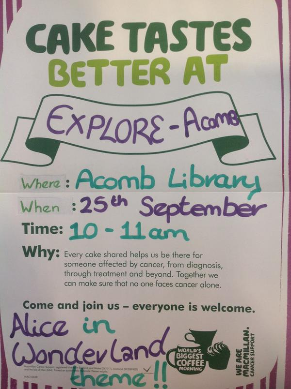 Acomb Explore 25th Sept 2015 McMillian coffee morning