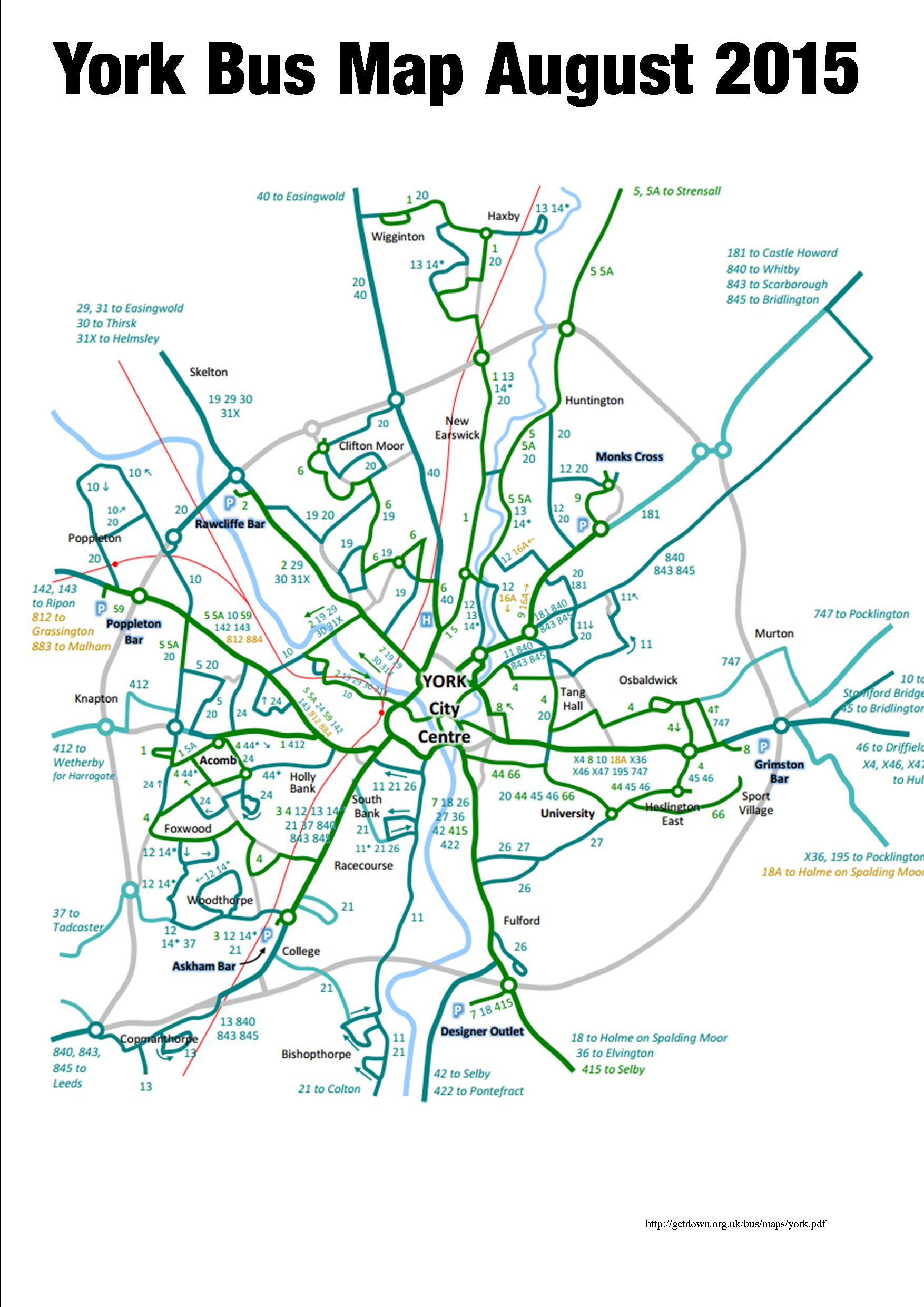 Revised York bus route map Steve Galloway
