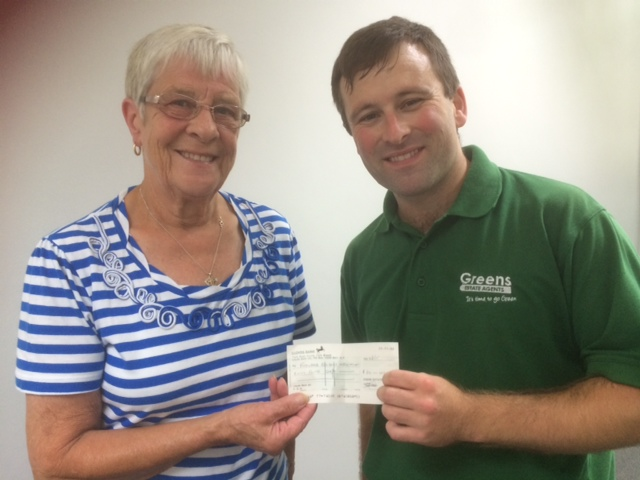 Picture shows Simon Cartwright handing over the cheque to Shirley Gumley