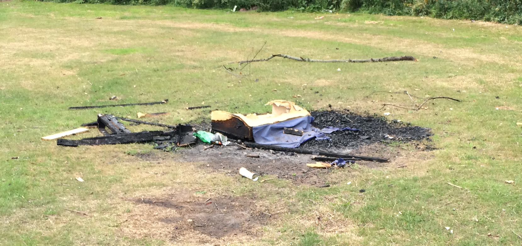 Remains of bonfire in Grange Lane Park. Issues is being  followed up by local Councillors