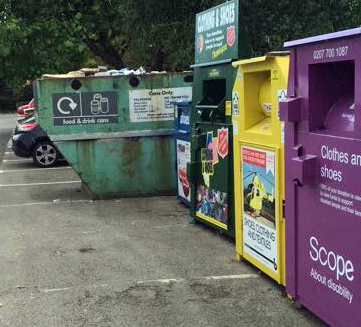 Clothes bank has been emptied in Acomb car park but rubbish now being piled on top of can bank