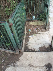 Detritus pilled up at Tennent Road entrance