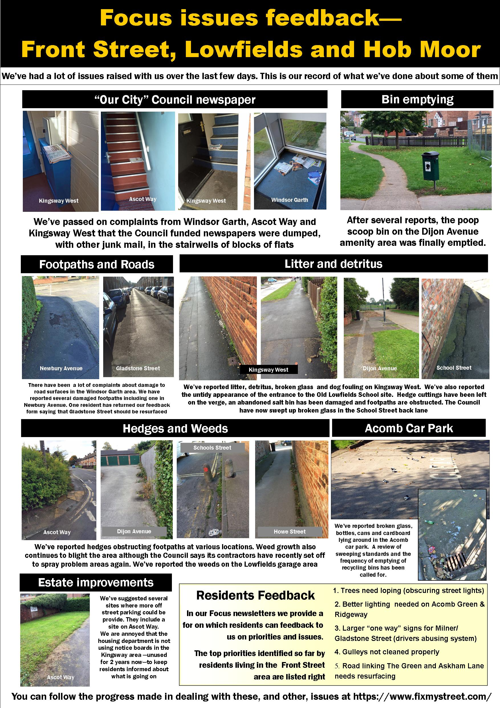 Focus Feedback Front Street, Lowfields and Hob Moor 6th Oct 2015