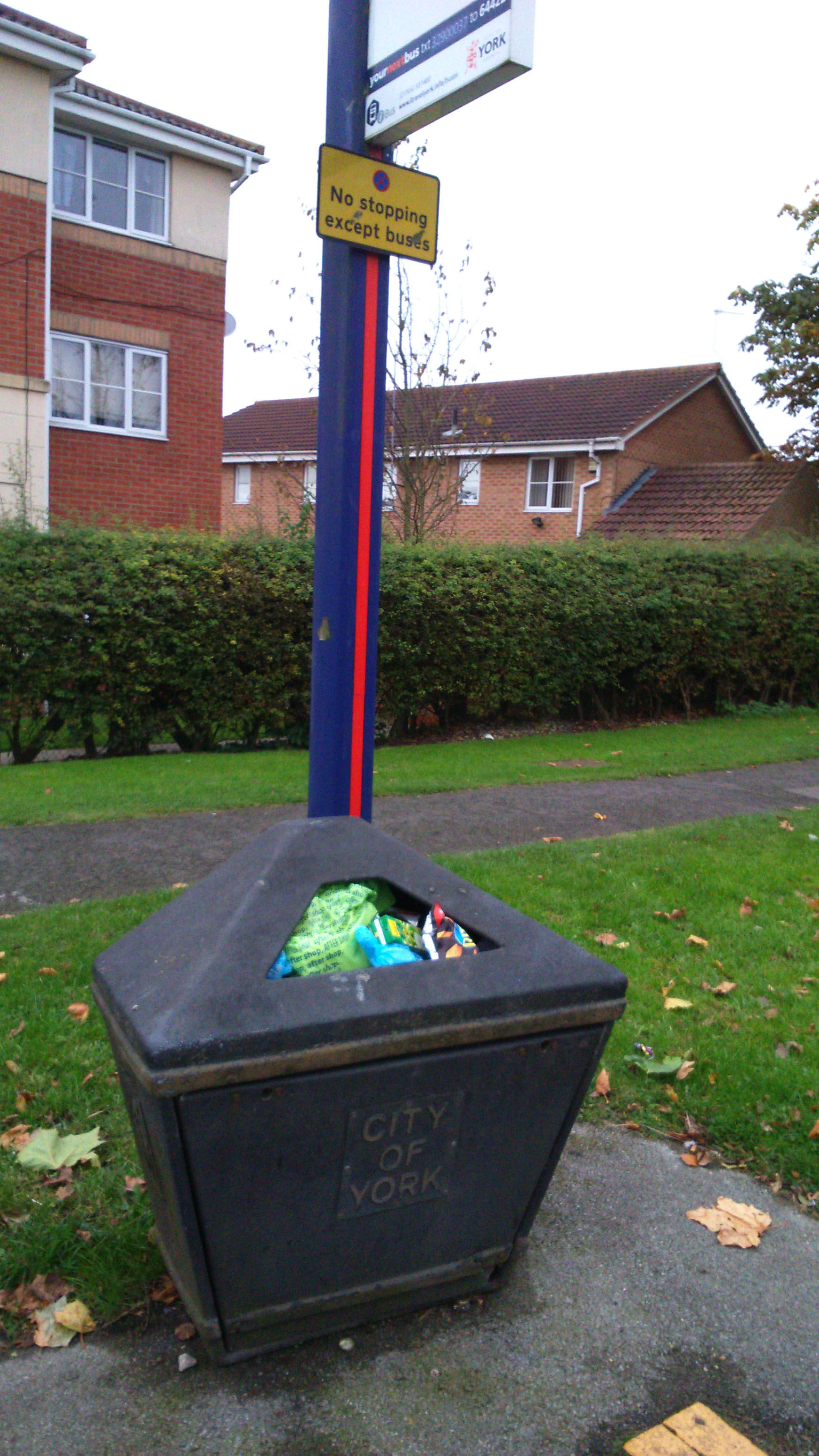 Full litter bin on Askham Lane reported by Cllr Sheena Jackson