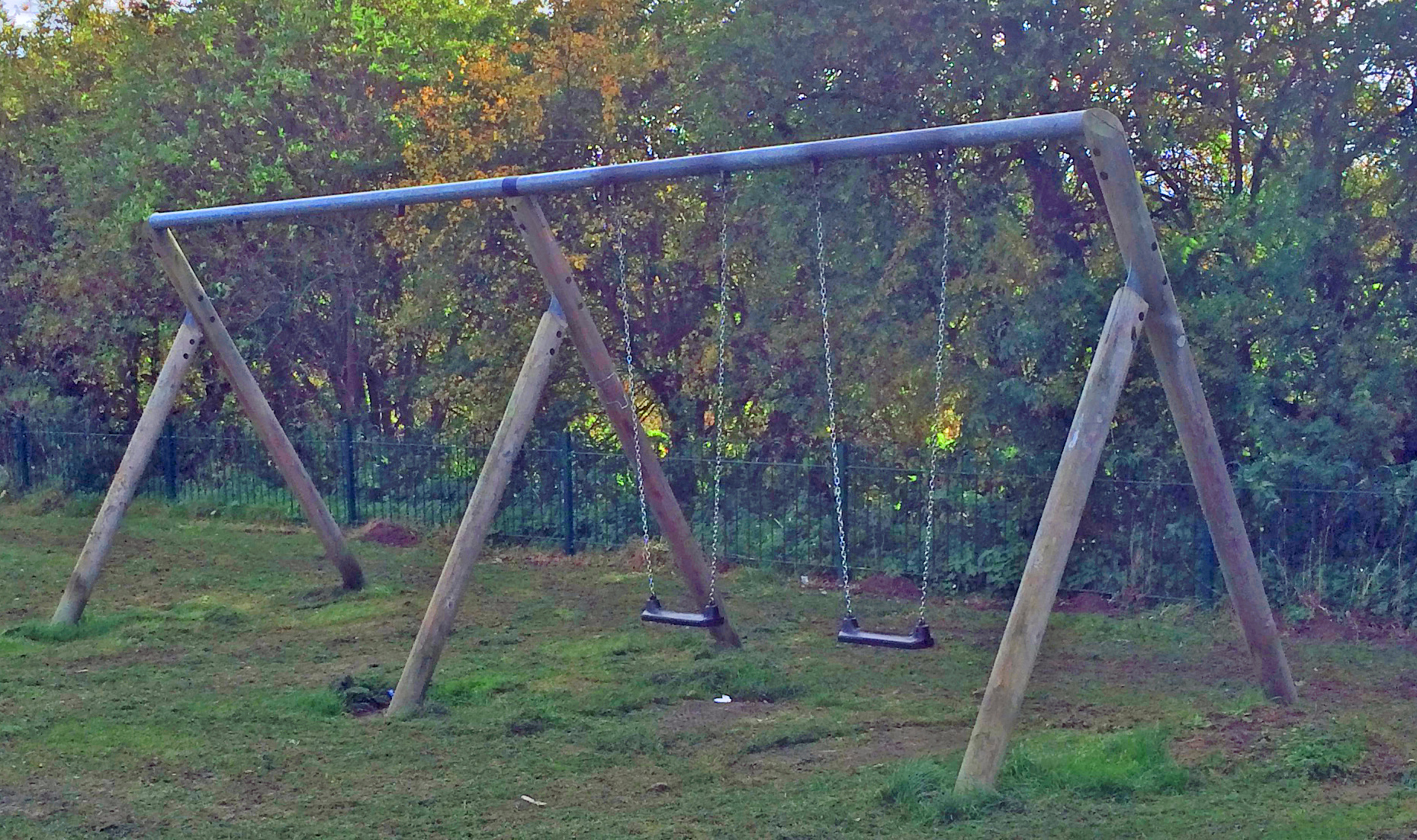 Swings damaged on Grange Lane aprk