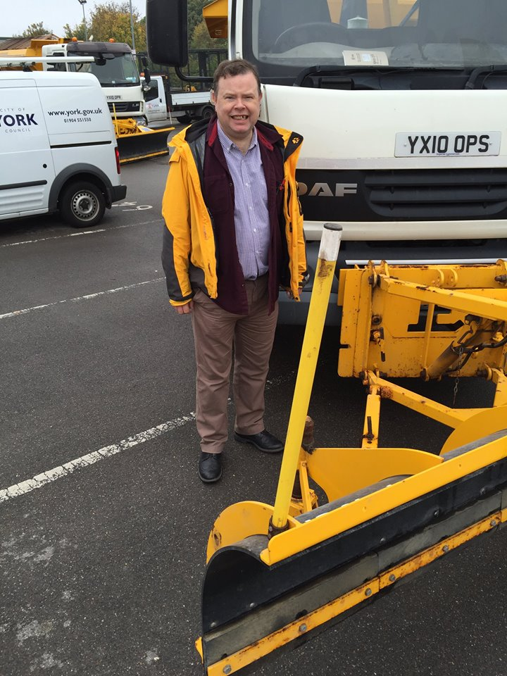 Cllr Andrew Waller with snow plough