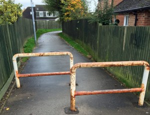 Cycle barriers Teal Drive Carrfield snicket