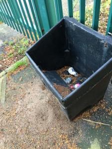 Empty and damaged salt bin on Dijon Avenue still not relocated away from former school entrance
