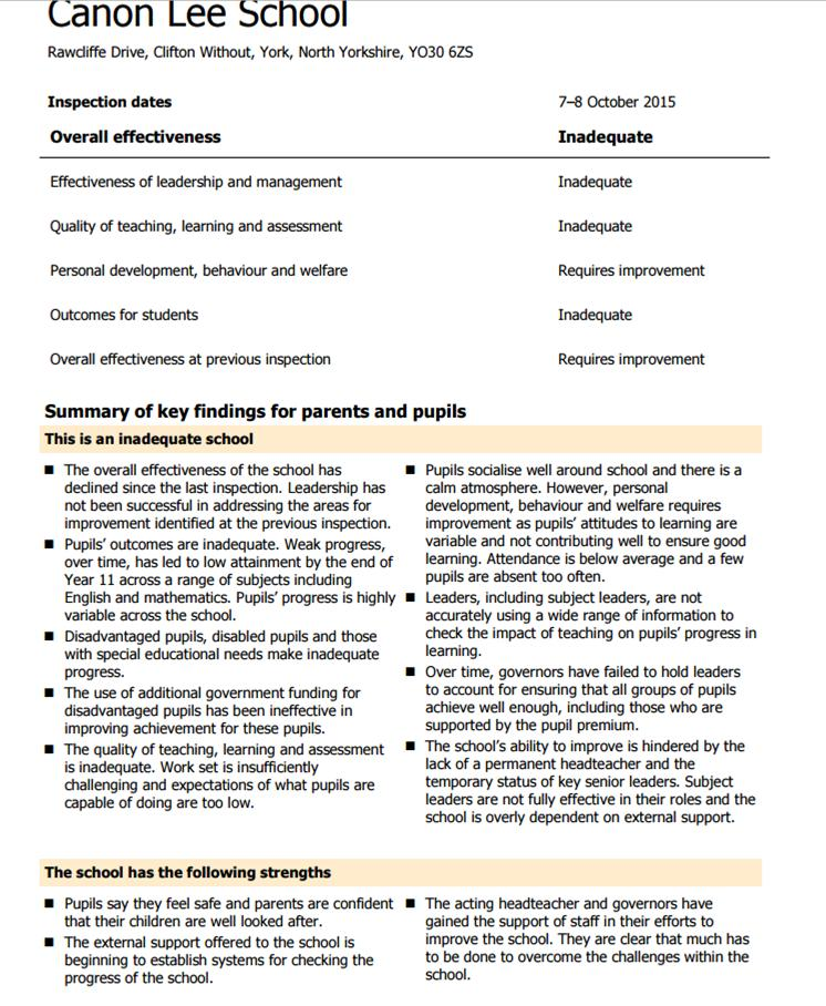 Ofsted report Oct 2015