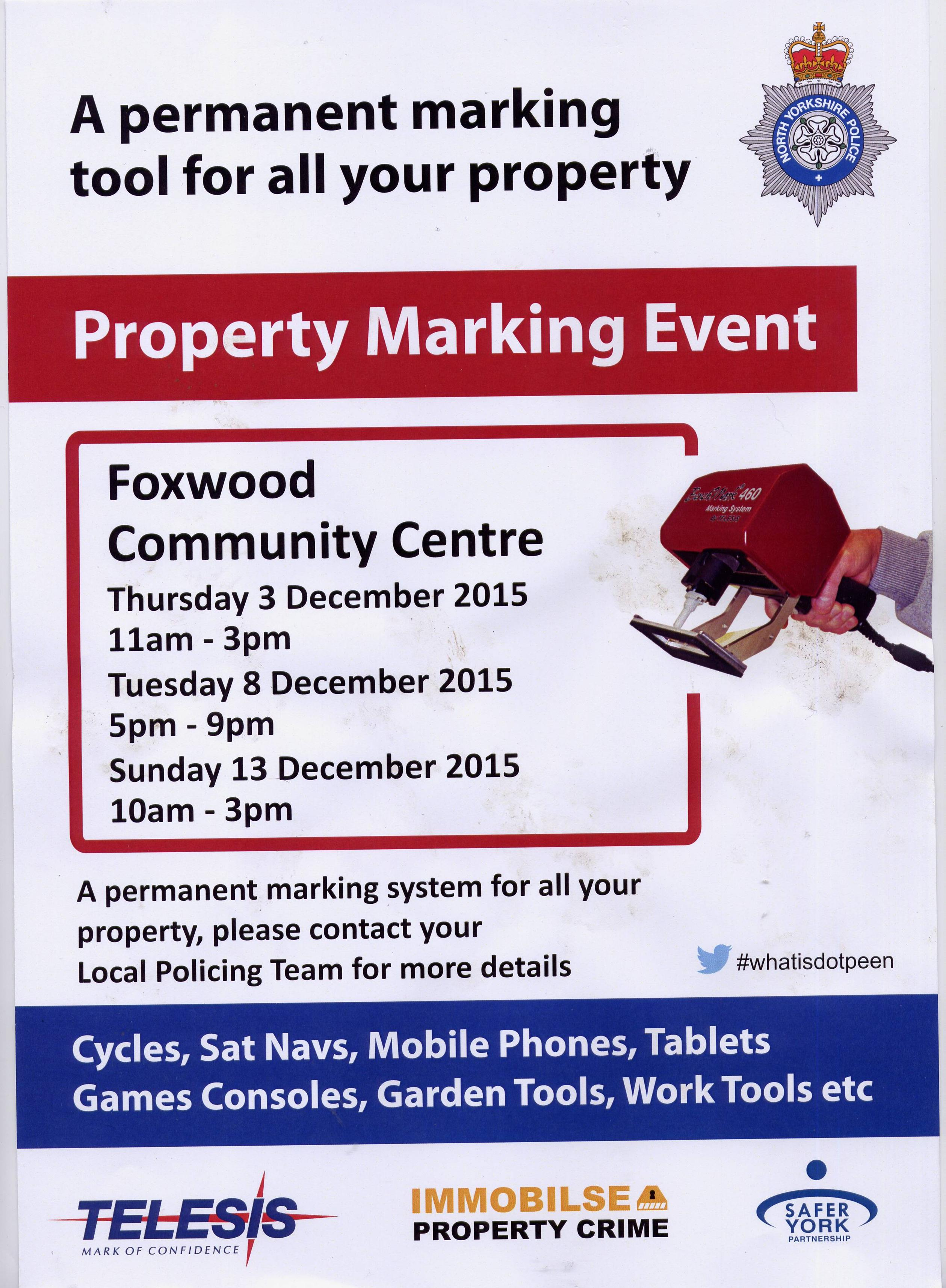 Property Marking in Foxwood Dec 2015