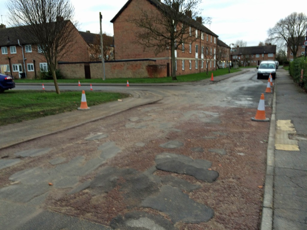 "Uneven carriageway on Windsor Garth - Longest outstanding issue and may not now be repaired until ""Hob Stones"" development completed late next year."