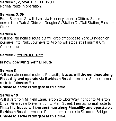 Bus Services 30th Dec 2015