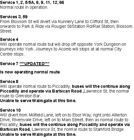 Bus Services 30th Dec 2015