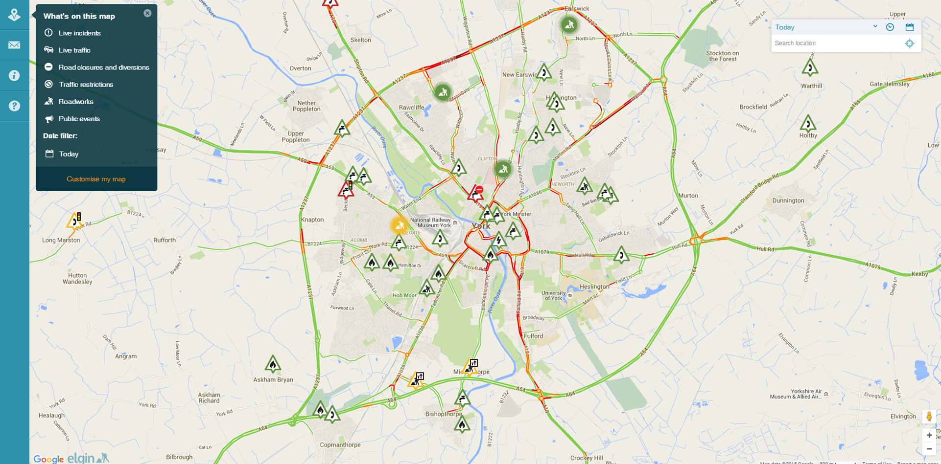 Red routes are congested click for latest