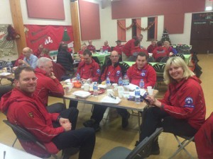 Rescue workers take a break at the Foxwood Community Centre