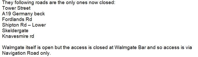 Road closure list 1400 29th Dec 2015