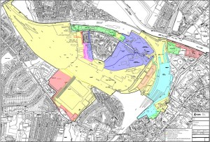 York central land ownership. Yellow -Network Rail, Purple - Railway Museum, Red - York Council taxpayers