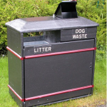 Combined litter and poop scoop bins