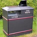 Combined litter and poop scoop bins