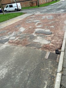 Still no sign of repair to the carriageway in Windsor Garth