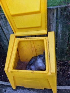 Rubbish bad dumped in Teal Drive salt bin