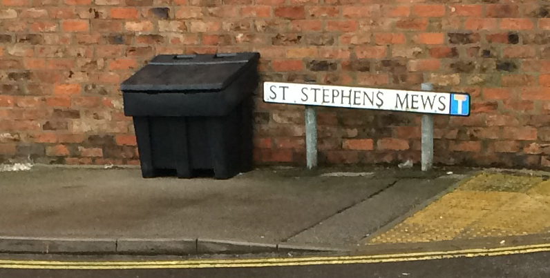 A replacement for the salt bin (removed by the Labour Council 3 years ago) has now been installed in St Stephens Mews courtesy of the Westfield Ward committee