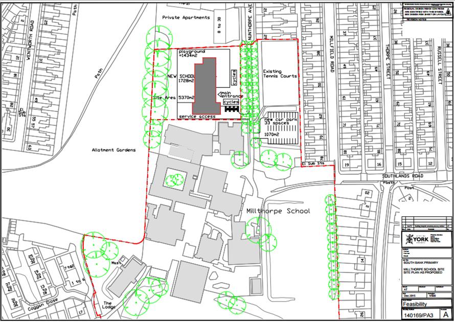 "Proposed Scarcroft school ""annex"" near Millthorpe school"