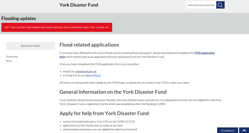 Confused messages about York Disaster Fund on Council web site.