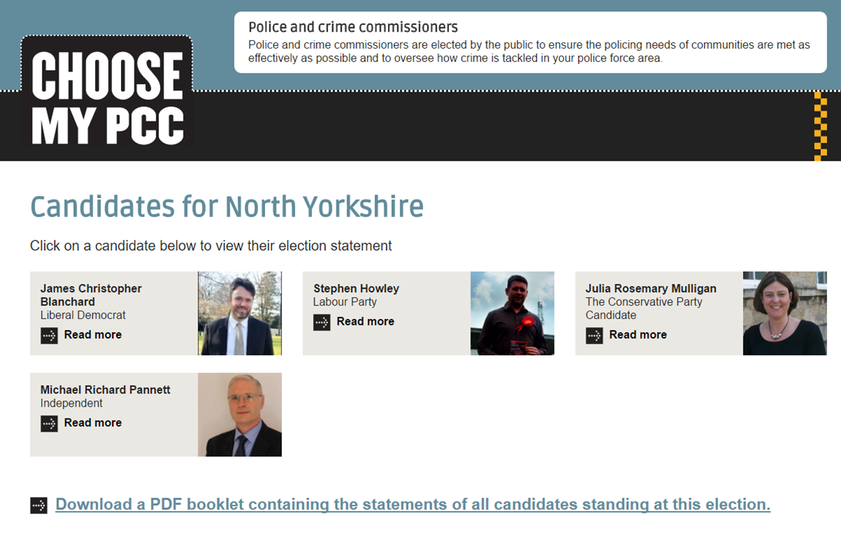 PCC candidates web site