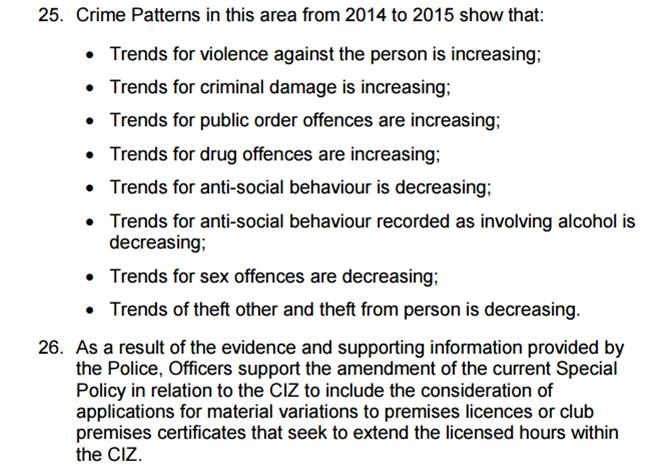 Crime trends in York alcohol zone - report extract April 2016