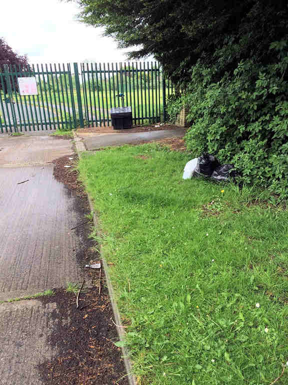 The area around the entrance to the Lowfields School site on Dijon Avenue needs a good clean up.
