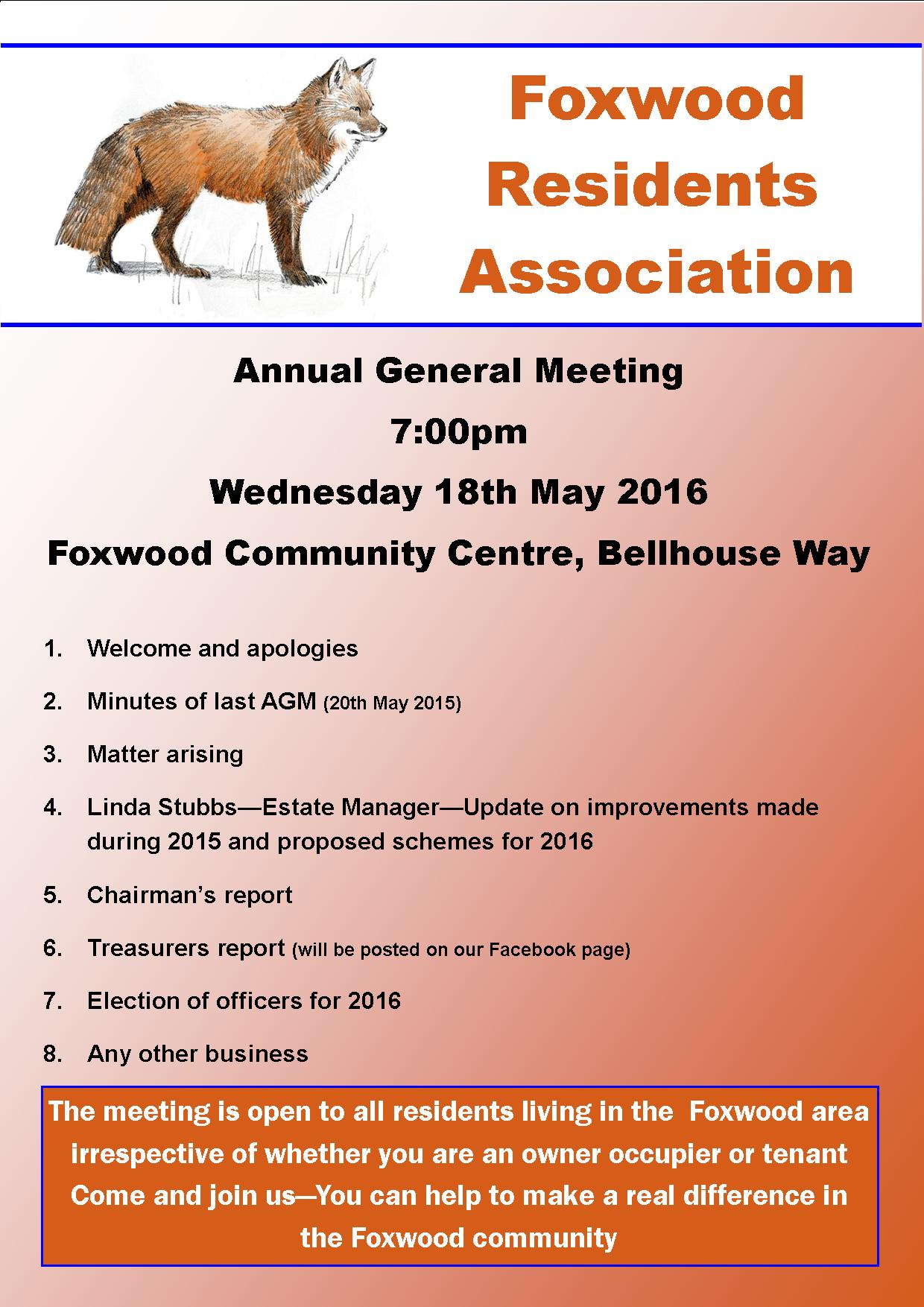Foxwood Residents Association AGM poster 2016
