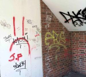 Graffiti at entrance to Fossgate car park