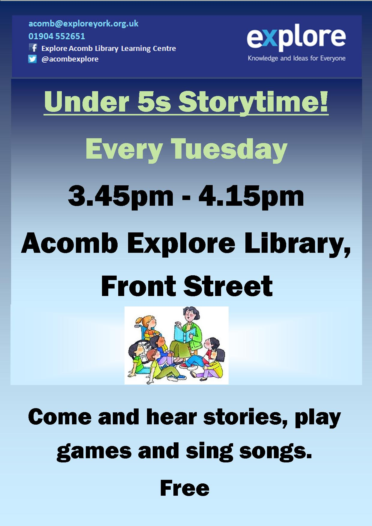Story time each Tuesday 10th May 2016