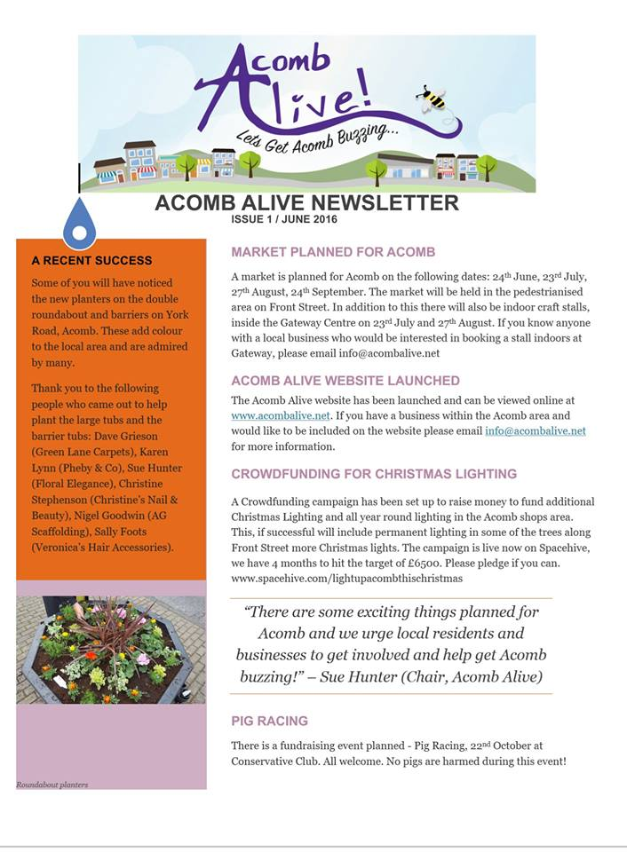 Acomb Alive newsletter June 2016 page 1