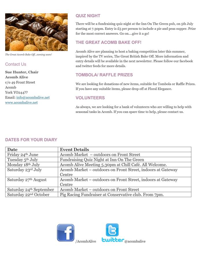 Acomb Alive newsletter June 2016 page 2