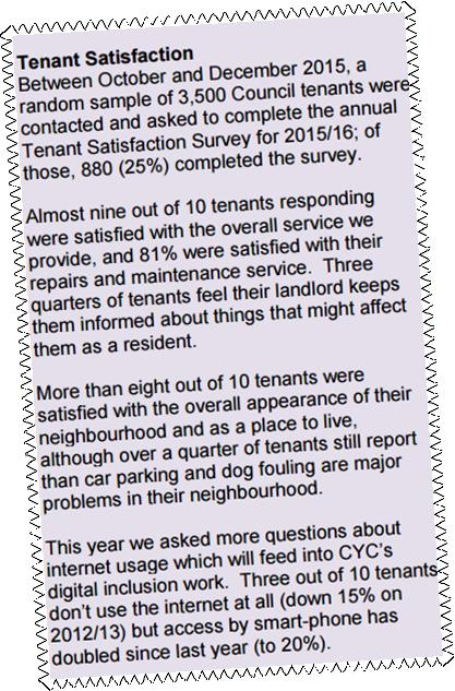 Mixed views from tenants on housing services in York