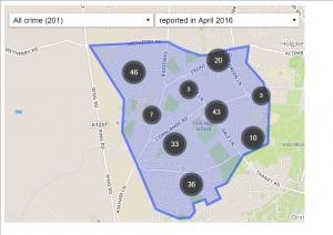 Crime incidents in Westfield April 2016