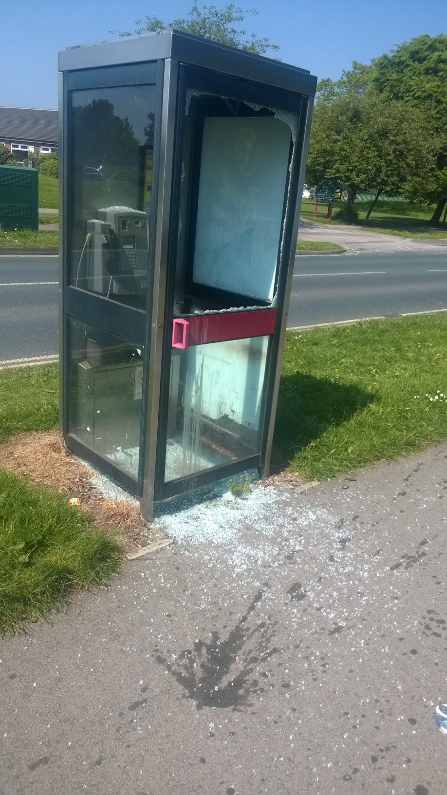 Vandalised phone box
