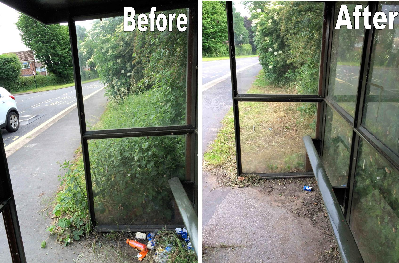 bus shelter before and after