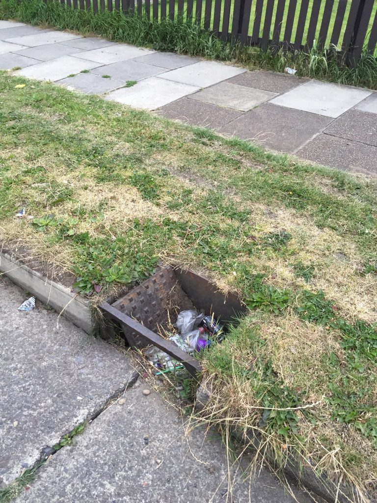 Broken gully cover Middleton Road
