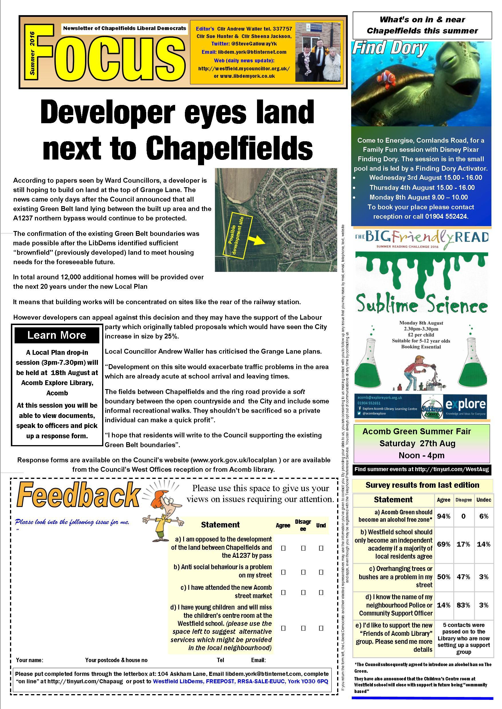 Chapelfields Focus Page 1 August 2016