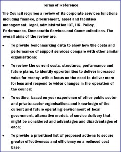 TOR for Council central services report 2