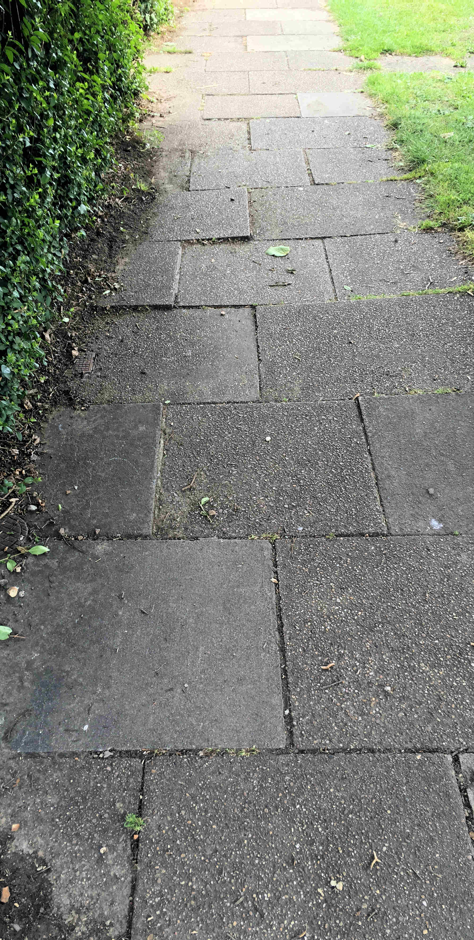 Uneven footpaths in Tudor Road