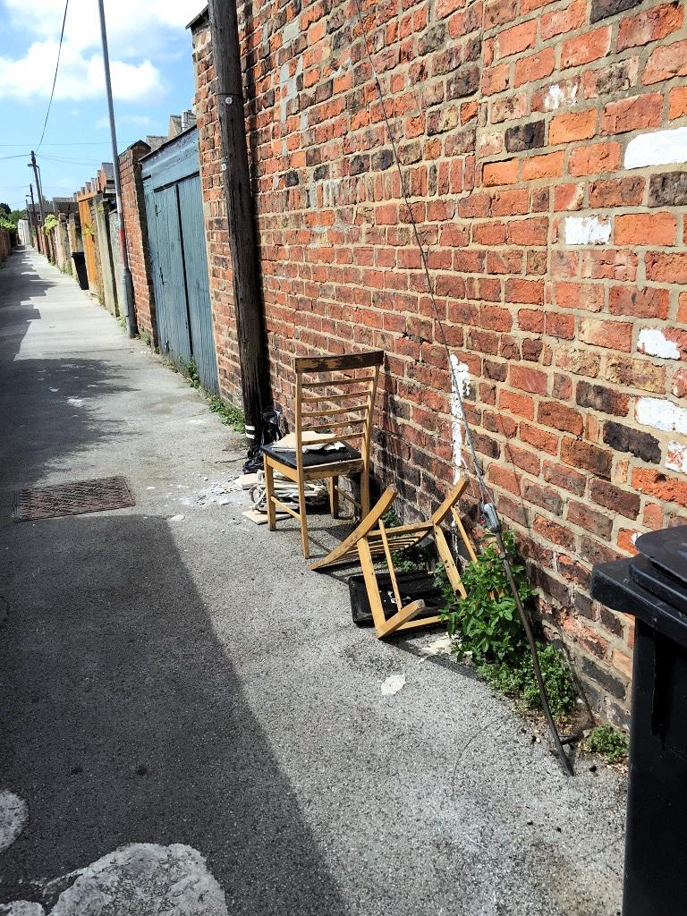 Dumping behind Beaconsfield Street off School Street