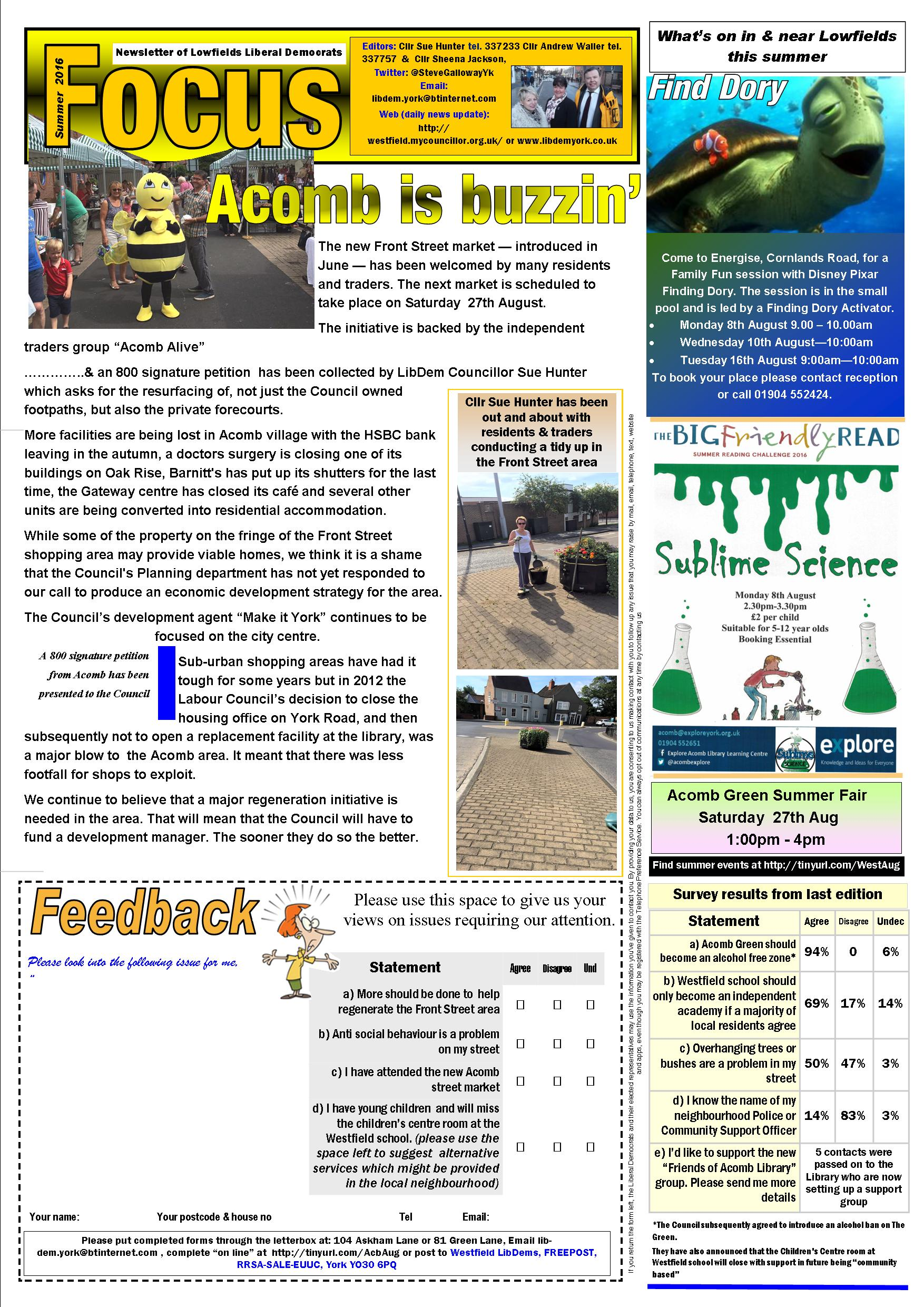 Lowfields Page 1 Focus August 2016