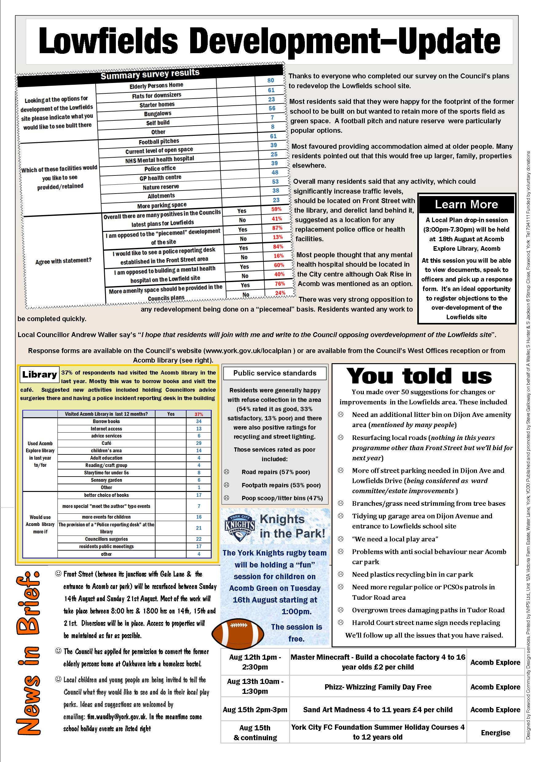 Lowfields Page 2 Focus August 2016