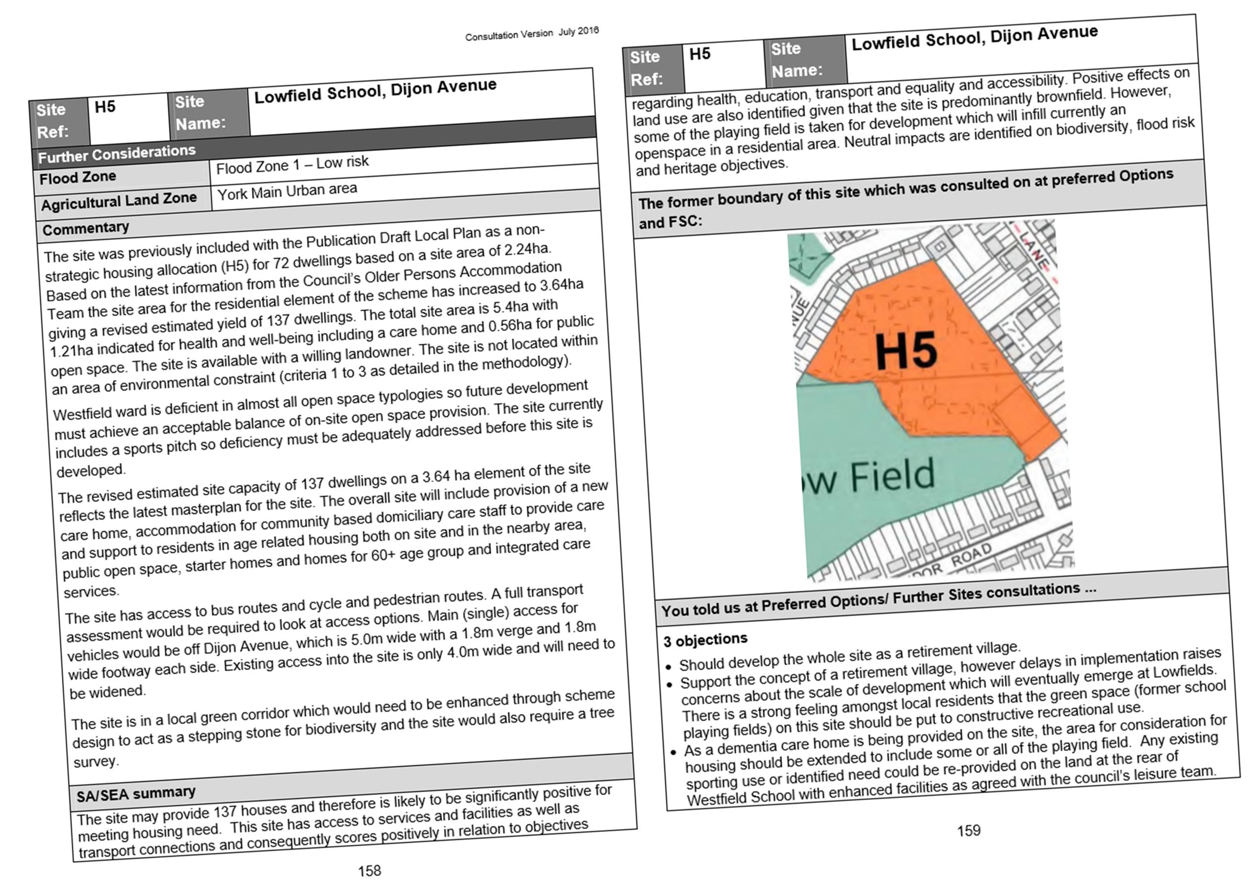 York Council views on Lowfields development. Click to view whole reprt