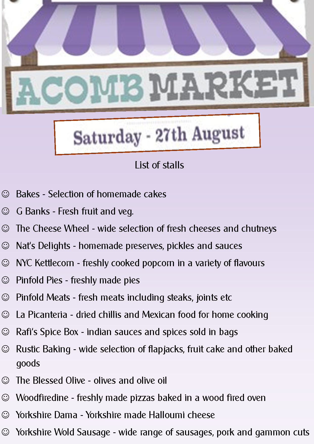 list of stalls August 2016 Acomb Market