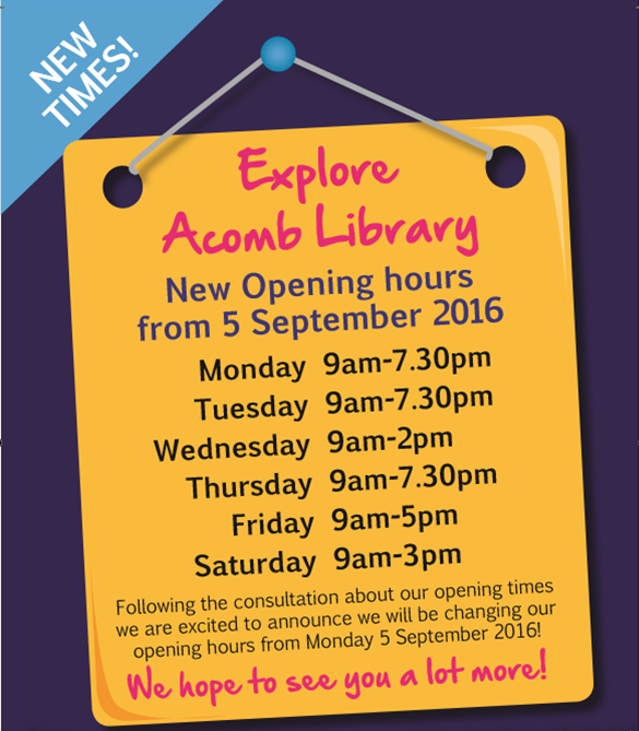 Acomb Library opening hours